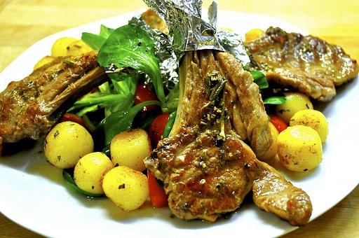 Lamb, Lamb Chop, Meat, Barbecue, Eat, Potato, Chop