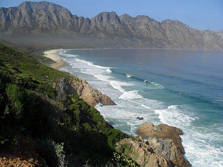 South Africa, Beach, Coast, Coastline, Mountains