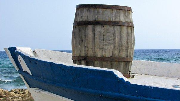 Barrel, Old, Wooden, Rusty, Boat, Port, Cyprus