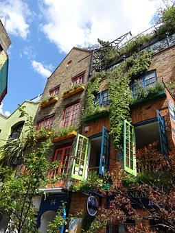 Facade, Home, Colorful, City, Flowers, Artfully