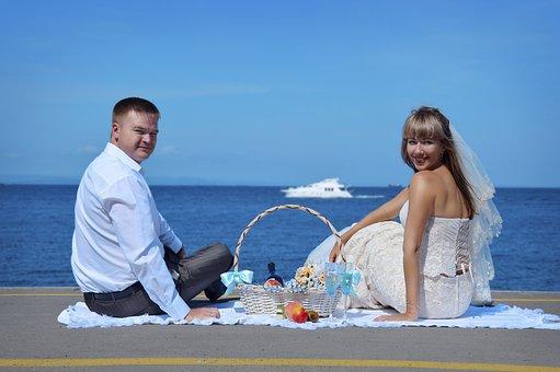 The Groom, Bride, Wedding, Sea, Nature, Feelings, Love