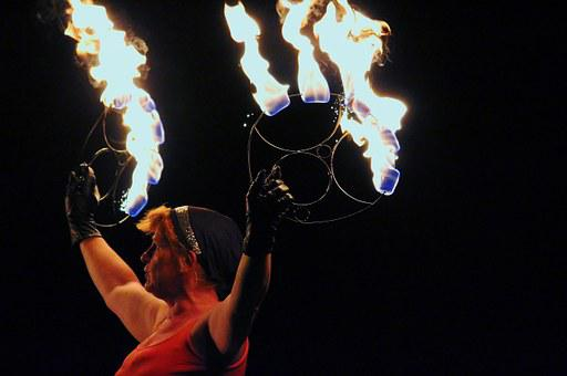 Woman, Artist, Fire, Fire Show, Demonstration, Burn
