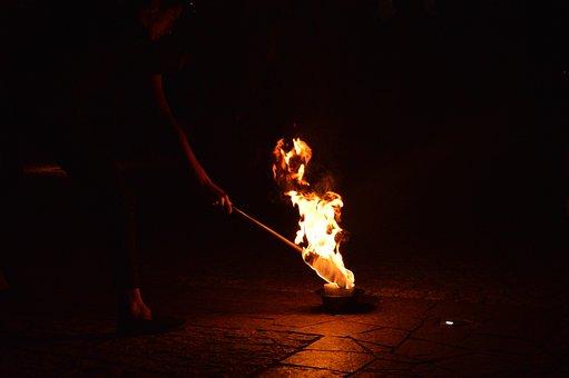 Fire, Fireshow, Burn, Smoke, Night, Performance, Show