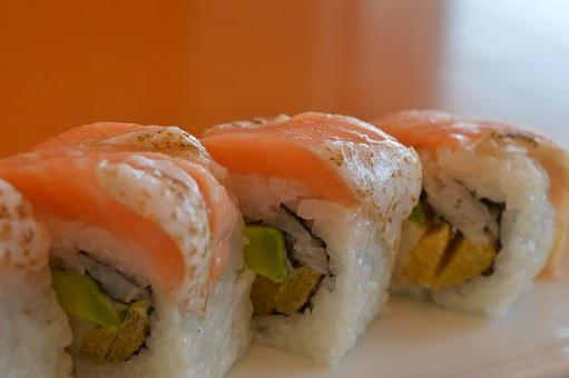 Sushi, Salmon, Seafood, Fish, Japanese, Food, Meal