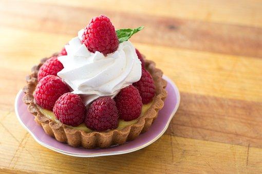 Dessert, Raspberries, Whip Cream, Fruit, Food