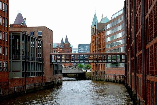 Hamburg, Channel, Building, Speicherstadt, Water