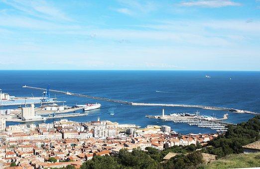 Sète, Sea, Port, Blue, France, Shore, Landscape, South