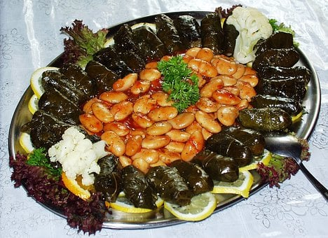 Beans, Grape Leaves, Greek, Food, Mediterranean, Meal