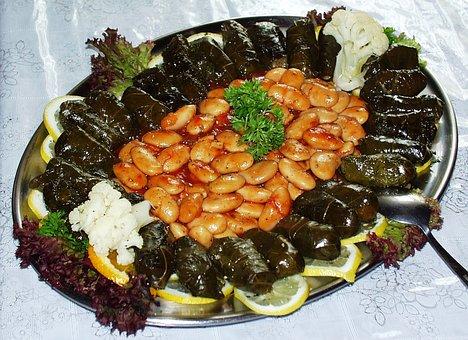 Beans, Grape Leaves, Greek, Food, Mediterranean, Meal