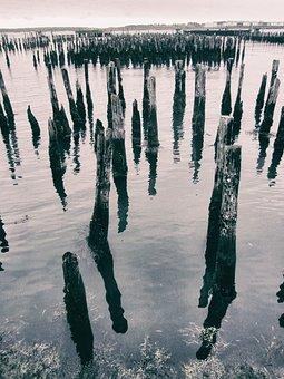 Mer, Vieux Quai, Maine, Usa, Eau, Bois, Bois Dan L'eau