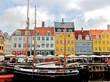 Nyhavn, Copenhagen, Denmark, Canal, Water, Tourist