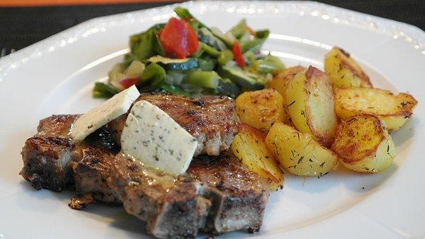 Lamb, Rip, Meat, Lamb Chops, Chop, Potato, Vegetables