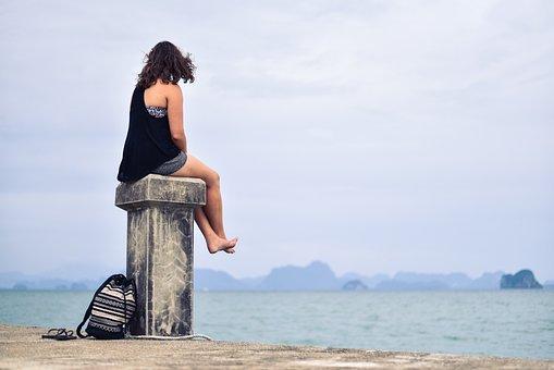 Person, Women, Distance, Looking, Lake, Range