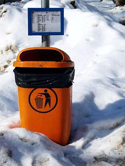 Trash Can, Recycle, Rubbish, Street, Snow, Winter