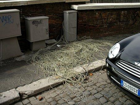 Cable Salad, Telephone Cable, Telecom Italia, Rome