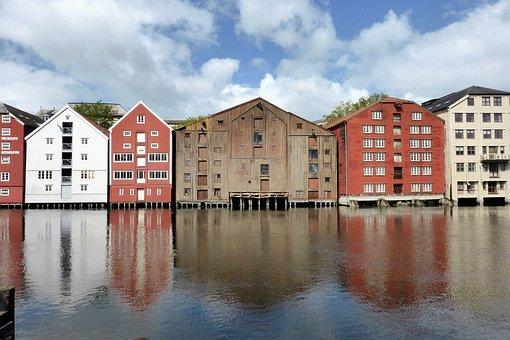 House, Old Port, Norway, Trondheim, Wood, Water