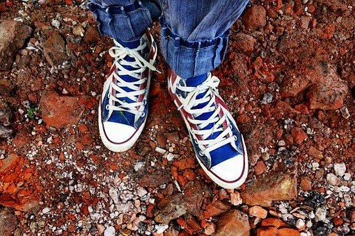 Feet, Shoe, Sneaker, All Star, Footwear, Girl, Woman
