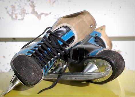 Skates, Ice Hockey, Old, Ddr, Skid, Blue, Male