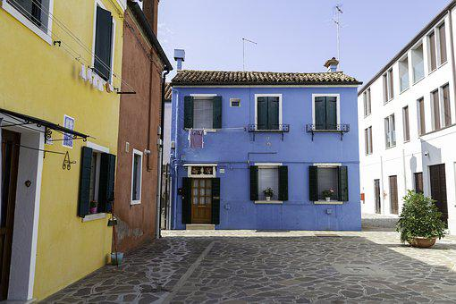 Coloured Houses, Bright Houses, Venice, Burano, Italy