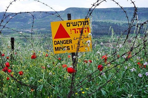 Golan Heights, Israel, Border, Minefield, Warning, Sign