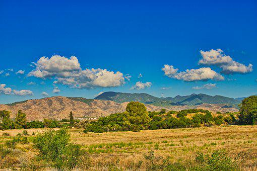 Cyprus, Landscape, Mountains, Sky, Clouds, Trees