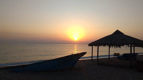 Sunset, Sea, Boat, Water, Beach, Nature, Evening