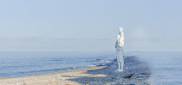 Man, Sea, Harbour, Horizon, Landscape, Roller, Beach