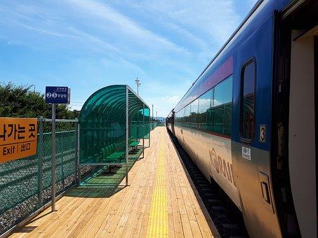 Train, Korea, Coach, Railway, Transportation, Shipping