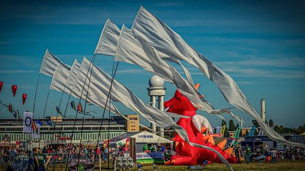 Dragon Festival, Dragons, Kite Flying, Flags, Sky