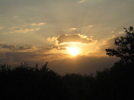 Sun, Sunset, Sky, Landscape, Dusk, Clouds, Orange