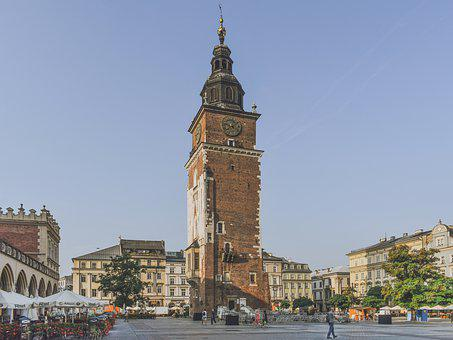 Tower, Clock, Square, Buildings, Architecture, City