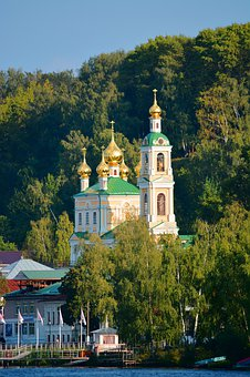 The City Of Ples, Volga, Russia, Landscape, Church