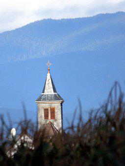 Bell Tower, Church, Roggenhouse, Alsace, Mountain