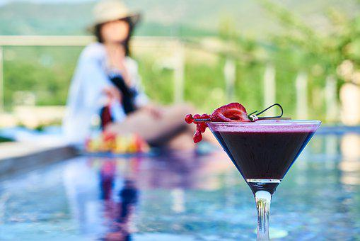 Cocktail, The Drink, Fruit, Strawberry, Woman, Pool
