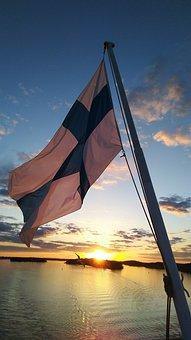 Flag, Country, Patriotic, Symbol, Sea, Sky, Finland