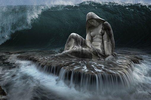 Fantasy, Sea, Wave, Statue, Water, Nature, Mood, Ocean