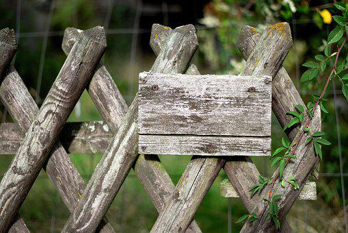 Shield, Fence, Wood Fence, Jägerzaun, Wood, Garden
