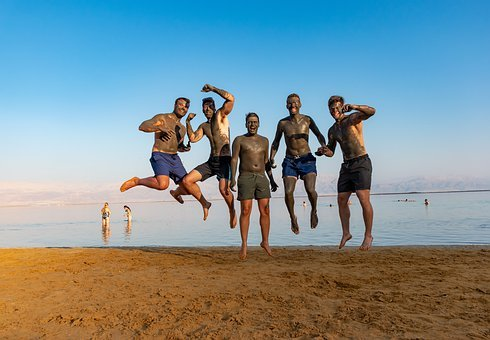 Dead Sea, On An Air, Young, People, Fun, Jump, Motion