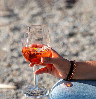 Drink, Hand, Woman, Aperol, Sun, Keep, Orange, Glass