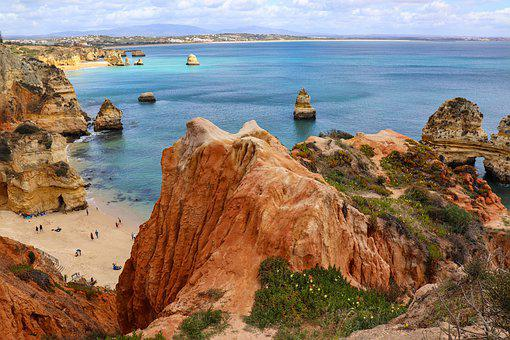 Portugal, Algavre, Sea, Rock, Beach, Ocean, Clouds