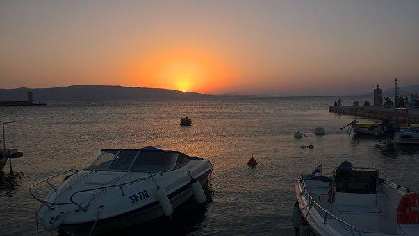 Sunset, Sea, Water, Dawn, Reflection, Croatia, Senj