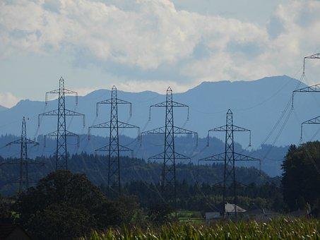 Power Lines, Mountains, Landscape, Sky, Switzerland