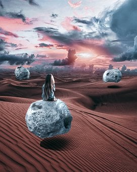 Stone, Sky, Clouds, Desert Girl, Photoshop, Fantasy