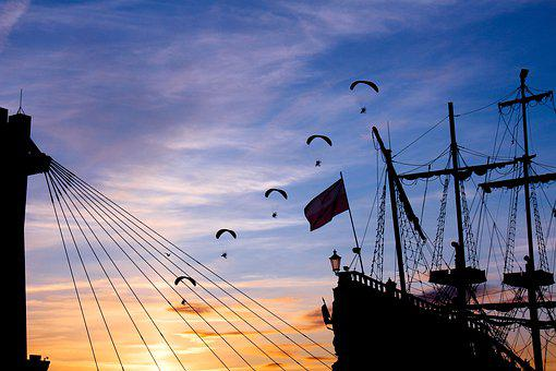 Hang Glider, The Trikes, Air Show, Sky, Sunset, Ship