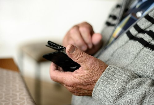 Mobile Phone, Smartphone, Old Human, Seniors