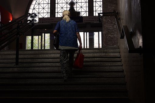 Woman, Stairs, Railway Station, Pkp, The Station