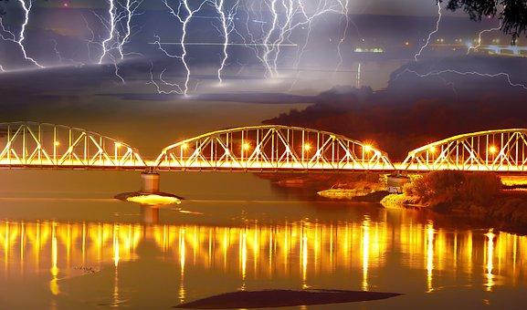 Bridge Lagoon, Grudziadz, Storm, Lightning, River