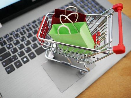 Shopping Cart, Shopping, Laptop, Supermarket