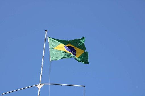 Flag, Brazil, Banner, Sky, Blue, Such, Green, The Flag