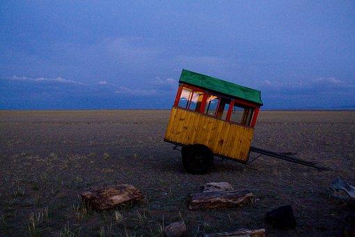 Sunset, Caravan, Trailer, Landscape, Travel, Mongolia